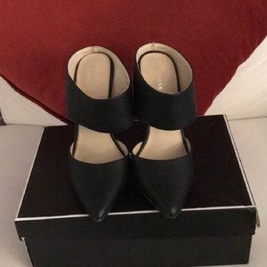Express Black Stappy Pointed Toe Heels